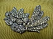 Amazing Vintage Diamante Double Brooch with Dragonfly and Bloom (SOLD)
